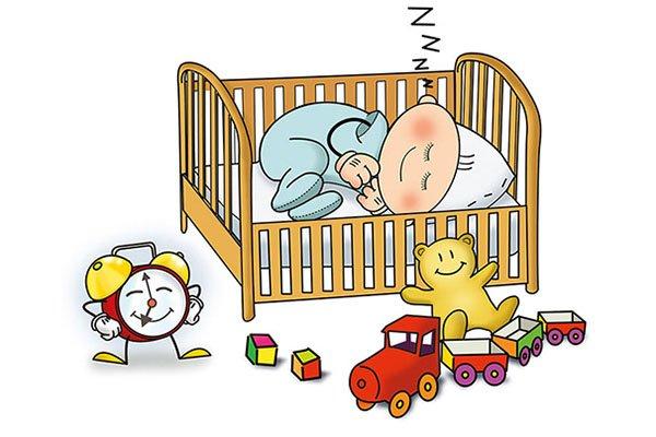 Immagine di un bambino che dorme dentro a un lettino