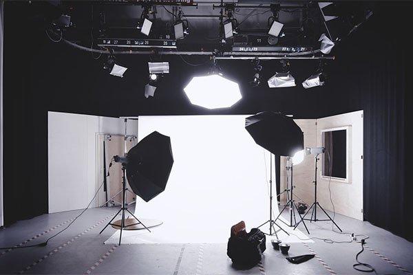 sala di posa di uno studio fotografico professionista