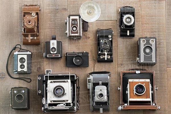 macchine fotografiche vintage fotografate dall'alto